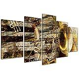 Bilderdepot24 Kunstdruck - Trompete und Piano abstrakt - Bild auf Leinwand - 100x50 cm 5 teilig - Leinwandbilder - Bilder als Leinwanddruck - Wandbild