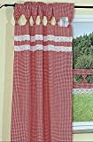 hochwertige Gardine Schal Übergardine LANDHAUSstil Rot Weiß klein KARIERT mit wunderschöner HäkelSPITZE aus der Kollektion Handarbeitsspitzen HOSSNER (Seitenschal 90x150 cm)