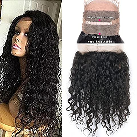 Friya Hair Top Qualit¨¦ Pre Plucked Water Wave 360 Lace Frontal Closure Blanchis Noeuds Bresilienne Cheveux Humain Closure Water Wave Natural Hairline Lace Band Frontal Closure Avec B¨¦b¨¦ Cheveux (14
