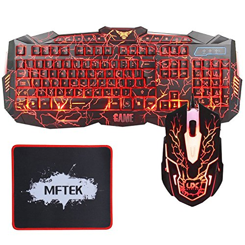 MFTEK - TECLADO (RETROILUMINADA  3 COLORES  LED  USB - KIT CON RATON Y ALFOMBRILLA)  COLOR NEGRO
