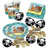 Pit Planke Piratenset für 8 Kinder + Partynelly Bonus Paket, Piratenparty Partyset Seeräuber, Pirat, Jungenparty
