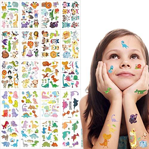 Szsmart animale tatuaggi temporanei per bambini, falso tatuaggi temporaneo tattoos adesivi festa di compleanno bomboniera bambine sacchetti regalo 20 fogli