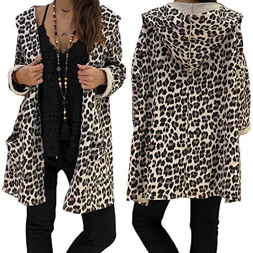 MEIbax Abrigos de Mujer Invierno Cubierta Atractiva de la Sudadera con Capucha de la Manera del Leopardo de la Manera de la Rebeca de la Blusa de la Capa Tops