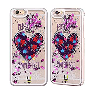 Head Case Designs Floral Heart Patches Silver Liquid Glitter Case Cover for Apple iPhone 6 / 6s