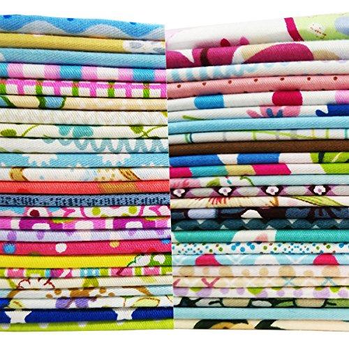 50Pcs Baumwollstoff Patchwork Stoffe DIY Gewebe Quadrate Baumwolltuch Stoffpaket zum Nähen mit vielfältigem Muster 30x30cm Neue Form (Stoff, Material Zum Nähen)