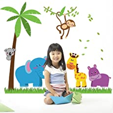 JAAMSO ROYALS Coconut Tree Animals Elephant Monkey Wall Sticker for Home Décor