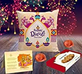 #6: Happy Diwali Superior quality HD Printed Cushion , Greeting Card, Hand Made Diya and Sweets by Aart Store