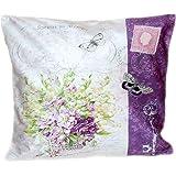 Kissenhülle 40x40 cm Soft-Touch Weiß Blümchen Korb Lila Dekokissen Kissenbezug Kissen Frühling Sommer Blütenkorb