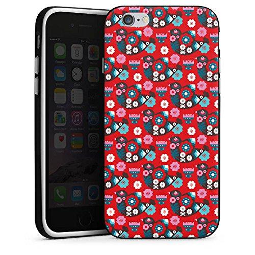 Apple iPhone 6 Housse Étui Silicone Coque Protection Oiseau Fleurs Fleurs Housse en silicone noir / blanc