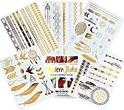 Metallic Tattoos Gold and Silver Flash By Modern Boho HUGE Collection Fast Free Shipping (Tribal Collection)
