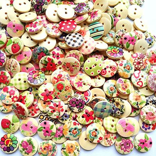 Egurs 100 Stück Holzknopf Runde Zwei-Augen Gedruckte Knöpfe Multi-Color zum Nähen und DIY Crafts