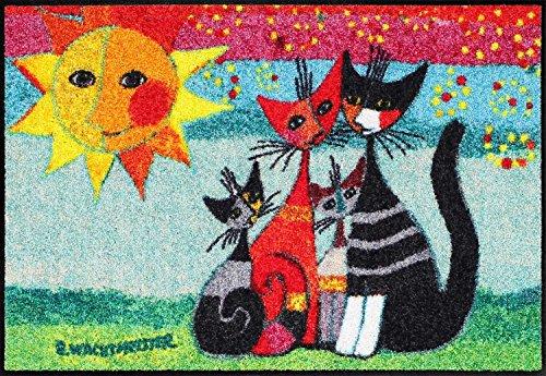 Efia Fußmatte Momenti di Felicita Rosina Wachtmeister Lifestyle Bunt Katze Fußmatten Matten Salonloewe 5 Jahre Garantie Wash