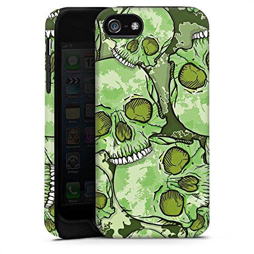 Apple iPhone X Silikon Hülle Case Schutzhülle Totenschädel Muster Knochen Tough Case matt
