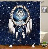 chenyuuu Dream Dream Catcher Snow Wolf Stars Duschvorhang, Wasserdicht, Schnell Trocknend, Lichtecht, Leicht Zu Reinigen, 12 Haken. 180X180Cm
