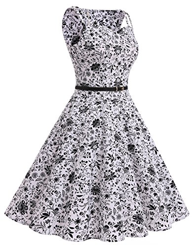 ... ALAGIRLS 1950er Vintage Rockabilly Einfarbig Party Kleid Retro Muster  Cocktailkleid Black Skull ...