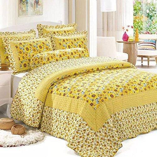 Young17 Bettwäsche Set 100% Baumwolle Bettbezug 4er Set (1 Bettbezug & 1 flaches Blatt & 2 Kissenbezüge) für Schlafzimmer Sonnenblumem, König