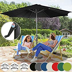 Miadomodo Parasol Octogonal - Protection UV 30+, Polyester, Manivelle, Tailles (Ø 2,5/3/3,5 m) et Couleurs au Choix - Parasol de Jardin, Terrasse, Balcon (Ø 2,5 m, Noir)