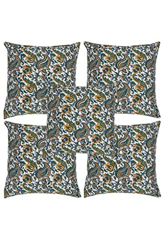 Rajrang cCS06617 paisley main block taie d'oreiller coton imprimé bleu