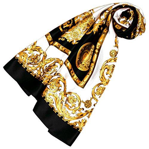 Lorenzo Cana Luxus Damen Seidentuch Tuch 100% Seide schwarz gold weiss 100 cm x 100 cm harmonische Farben Damentuch Schaltuch