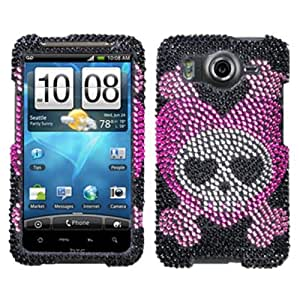 DECORO FDHTCINSPKE003 Premium Full Diamond Protector Case for HTC Inspire/Desire Hd - 1 Pack - Retail Packaging - Love Skull