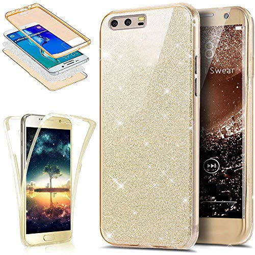 EINFFHO Huawei P10 Plus Hülle, 360 Full-Body Vorne+Hinten Rundum Schutz Tasche Etui Kristall Klar Glänzend Glitzer Durchsichtig Silikon Hülle Schutzhülle für Huawei P10 Plus (Gold)