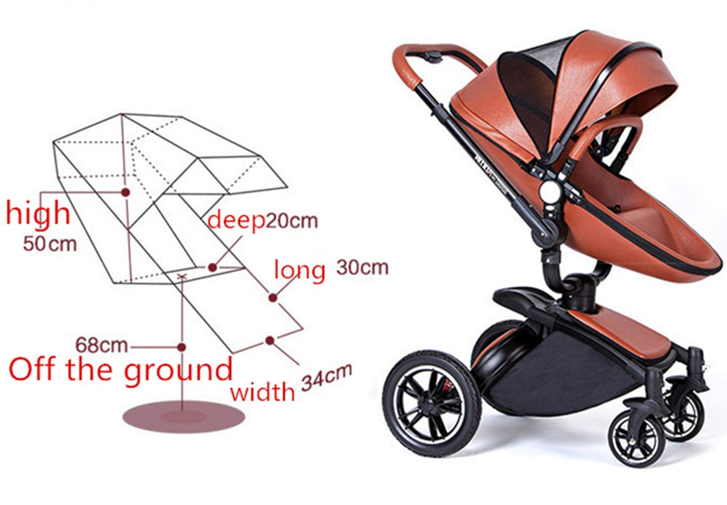 Baby Stroller High Landscape Foldable Two-Way Baby Car Can Sit Lie Children Bb Cart 360 Degree Can Be Rotated Ddpp Aluminum frame. Adjustable weather shield. Big sleeping basket. High view. Reversible stroller seat. Folding shock absorber. The aluminum alloy frame has a good luster. It is lighter than iron (or steel, copper) and does not rust, so it can be used for a long time; the adjustable handlebar can meet the needs of people of different heights and can adjust the push position; the reversible stroller seat makes the baby easy to face For parents or facing the world. .PU wheel, and can roll on rough terrain, such as grass, gravel road, sidewalk, sand and so on. The rotating front wheel can be locked in a precise position, and the suspension spring mounted on it effectively absorbs different vibrations to protect the baby's brain and body. The one-touch parking brake brakes both rear wheels quickly and thoroughly, keeping the baby away from danger and risk. 5