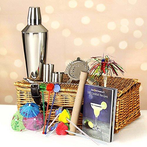 bar@drinkstuff Manhattan Cocktail Zubehör Geschenkkorb-Cocktail Geschenk Set in Luxus behindern