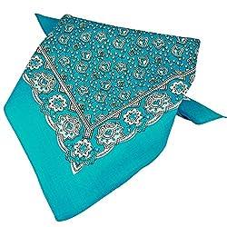 Blue, White & Black Paisley Patterned Bandana Neckerchief by Ties Planet