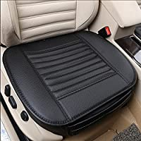 Car Seat Cushion Bamboo Charcoal Car Seat Cover with PU Leather Interior Car Seat Pads (Black)