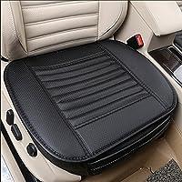 Cojín de asiento, protección del asiento de coche, cómodo y transpirable Cuatro estaciones generales Pu cuero Bambú carbón de leña transpirable coche interior (Negro)