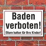 Schild Baden verboten, 3 mm Alu-Verbund (300 x 200 mm)