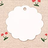 Vikenner 100 Pcs Flower Shape Circle Kraft Paper Hang Tags Gift Price Cards Favor Label for Wedding Christmas Party Supplies - No Hemp Rope - White