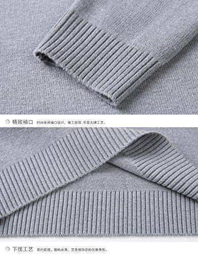 BOMOVO Herren Strickpullover Pullove V-Ausschnitt Sweatshirts Slim Fit Grau