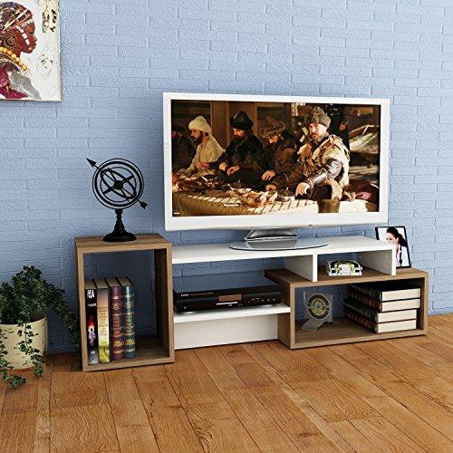 ALIDA TV Lowboard - Wohnwand - TV Stand - Möbel Fernsehtish in elegantem Design (Weiß / Nussbaum)