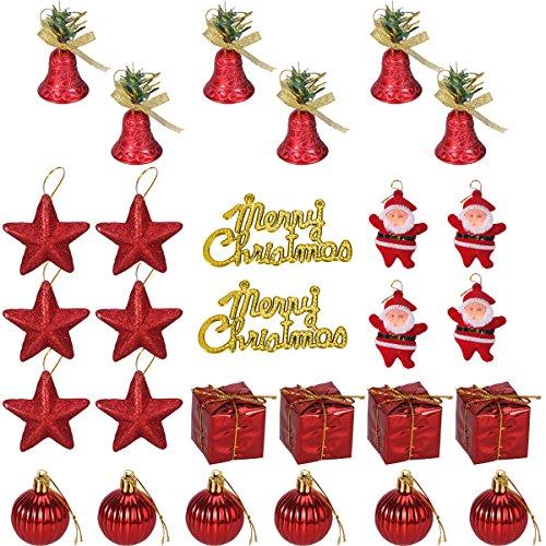 Tinksky Glitter Weihnachtsbaum Ornamente Hängende Dekoration 28PCS Klingel-Glocken-Stern-Geschenk-Bälle Weihnachtsmann-Weihnachtsanhänger-Hochzeits-Hochzeits-Party-Dekor (rot)