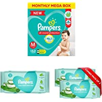 Pampers New Diapers Pants Monthly Box Pack, Medium (152 Count) & Pampers Aloe Vera Baby Wipes - 72 Count (Pack of 3)