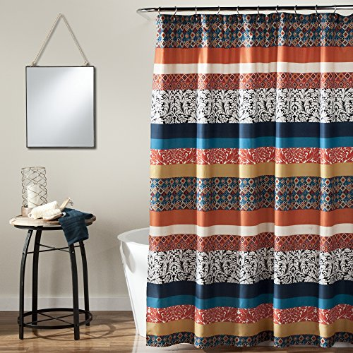 Lush Decor Bohemian-Streifen-Duschvorhang, Stoff, Buntes geometrisches und