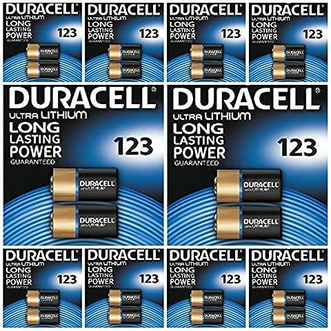 20 x CR123 3 V au lithium Duracell Ultra photo – dl123 Pile pour batterie – el123 a – CR123 A – CR17345