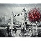 Escena de la calle de Londres con el Tower Bridge en el río Támesis. Pintura al óleo pintada a mano sobre lienzo - Excelente calidad y la artesanía