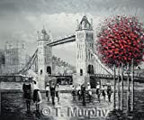 London street scene with Tower Bridge by the river Thames. Fine Art oil on canvas painting - Superb quality and craftsmanship, hand made wall art
