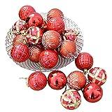 FeiliandaJJ 6CM Eine Schachtel mit 24 Weihnachtskugeln Weihnachten Deko Anhänger Christbaumkugeln Dekorationen Kugeln Party Hochzeit Ornament (rot)