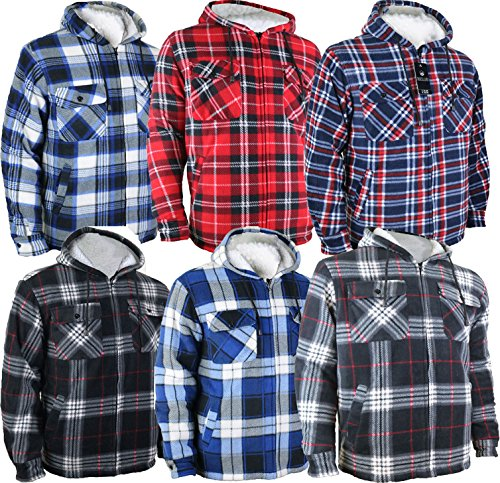 Jacken & Mäntel Mens Warm Thick Top Fur Fleece Lined Padded Shirt Lumberjack Flannel Work Jacket