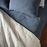 LinenMe, Stonewashed-Bettlaken mit Gummizug aus 100 % Leinen in Blau, 150 x 200 x 20 cm 0415504