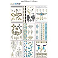 9-er Set Flash Tattoos Oro, oltre 100 tattoos, Argento Tatuaggio,