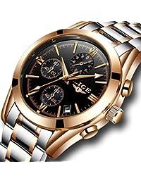 Men Watches Waterproof Full Steel Analog Quartz Watch Men's Luxury Brand LIGE Business Dress Sports Wristwatch