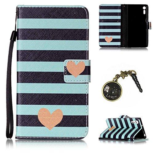 Preisvergleich Produktbild PU Xperia XZ Hülle, Klappetui Flip Cover Echt Leder Tasche für Sony Xperia XZ Flip Cover Handyhülle Bookstyle mit Magnet Kartenfächer Standfunktion + Staubstecker (8OO)