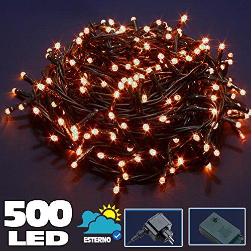 Bakaji Lighting Catena Luminosa 500 Luci LED Lucciole Bianco Caldo Controller 8 Funzioni Impermeabile Antipioggia per uso Interno ed Esterno, Luci di Natale, Cavo Verde, Luci per Albero di Natale