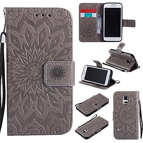 Coque pour Samsung Galaxy S5Mini G800 SM-G800,Housse en cuir pour Samsung Galaxy S5Mini G800 SM-G800,Ecoway Tournesols de motifs en relief étui en cuir PU Cuir Flip Magnétique Portefeuille Etui Housse de Protection Coque Étui Case Cover avec Stand Support Avec des Cartes de Crédit Slot et Fonction Support pour Samsung Galaxy S5Mini G800 SM-G800 – gris