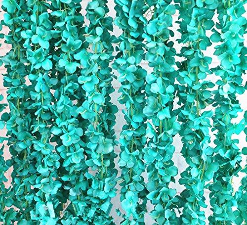 Crt Gucy 2Pack 13ft Künstliche Hortensie Blume Vine Wisteria Vines Cattleya Blumen Pflanzen für Home Hotel Büro Hochzeit Party Garten Craft Art Decor Tiffany Blue