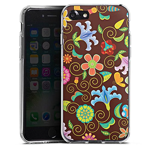 Apple iPhone X Silikon Hülle Case Schutzhülle Retro Bunt Blumen Silikon Case transparent
